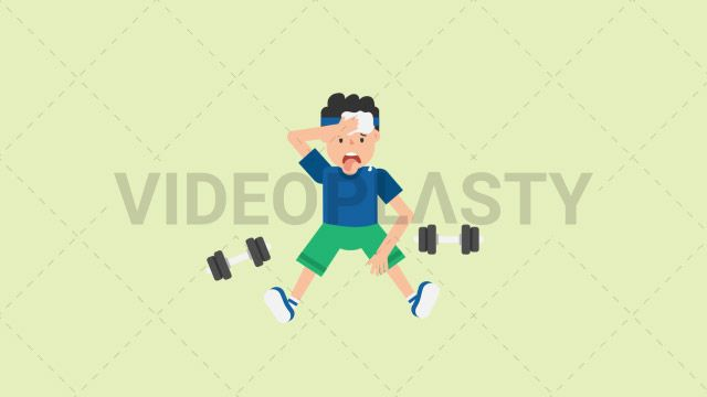 A man wearing a blue t-shirt green shorts and a blue headband sits on the floor sweating and being really tired after a workout session wiping off the sweat on his face with a pair of dumbbells around him on the floor Two version are included: normal (with a start animation) and loopable. The normal version can be extended with the loopable version Clip Length:10 seconds Loopable: Yes Alpha Channel: Yes Resolution:FullHD Format: Quicktime MOV