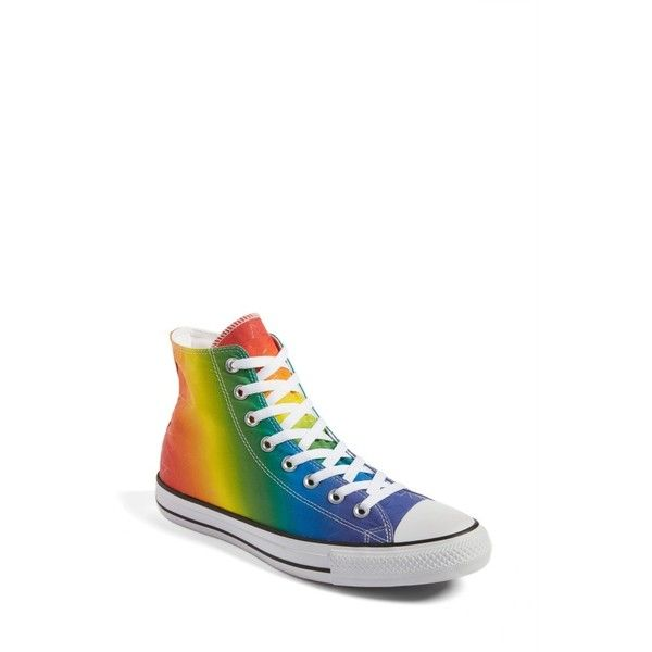 Women's Converse Chuck Taylor All Star Pride High Top Sneaker ($65) ❤ liked on Polyvore featuring shoes, sneakers, purple, converse sneakers, rainbow footwear, converse trainers, high top trainers and rainbow shoes