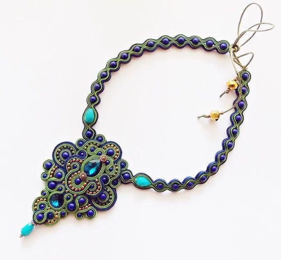 Soutache handmade necklace. Green and dark blue by Soutachebypanka