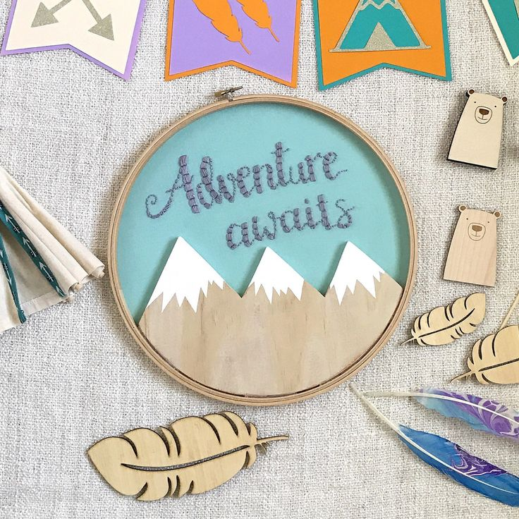 "A custom 12"" wooden mountain adventure awaits hoop made for a baby shower gift. What a sweet friend who purchased this for her!! Isn't it a beauty?!!"