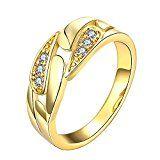 #7: Rockyu ブランド 人気 婚約指輪 レディース ハワイアン ゴールド カジュアル キュービック・ジルコニア (CZ) 指輪 15号
