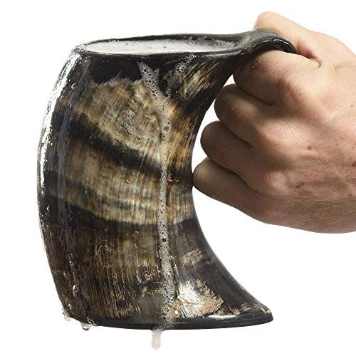 Game of Thrones Large Real Natural Viking Drink Drinking Horn on Stand Rough