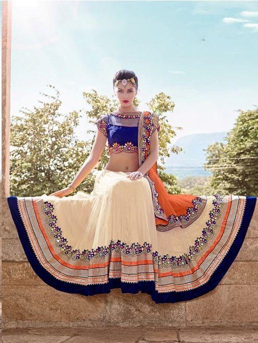 Beige With Orange Netted Designer Wedding Lehenga Choli Online