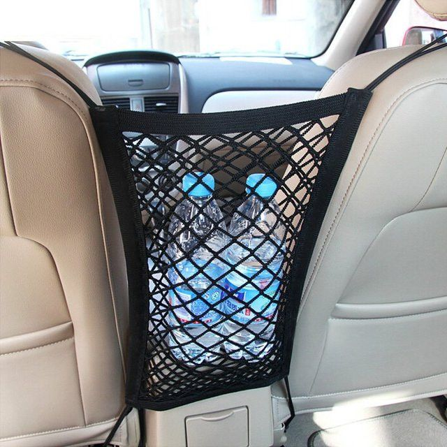 Universal Car Seat Storage Mesh Four hooks are easily to link up with the seats. Used as the storage mesh/organizer. Stretchy fine mesh and width, to ensure a g