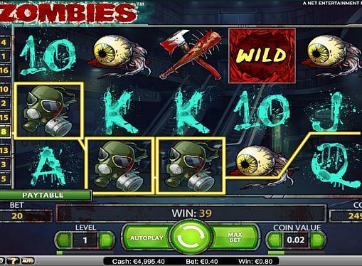 Zombies в казино на реальные деньги с выводом  Темой игры Zombies от компании NetEnt стал зомби-апокалипсис. За счёт прибыльных бонусных вращений она поможет выиграть крупные суммы реальных денег в лучших казино. Моментальному выводу призов также способствует Wild с нестандартной функцией.