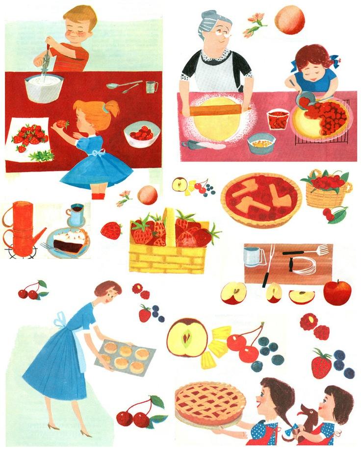 Fabulous Vintage 1950s Mid Century Cookbook Graphics Pies