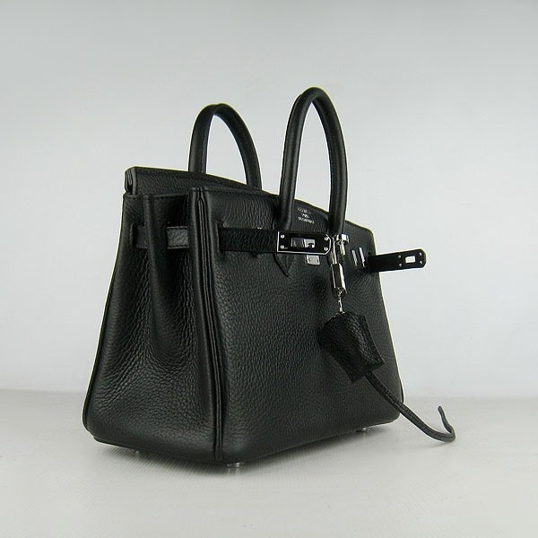 Hermes Black 25CM Birkin Clemence Leather Bag With Silver HW Product Model: Hermes Birkin 25CM  Availability: In Stock  Color: Black / Silver  Material: Calfskin Leather  Size: W25×H18×D13CM  Package: Hermes dust pouch, padlock, keys and key ornaments  Shipping: Free Price: $219