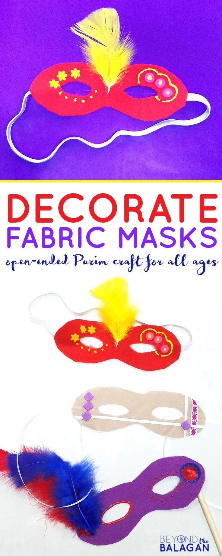Dekorieren Sie Stoffmasken für PUrim – ich liebe dieses Purim-Handwerk, weil es gemacht werden kann …   – Purim Party!