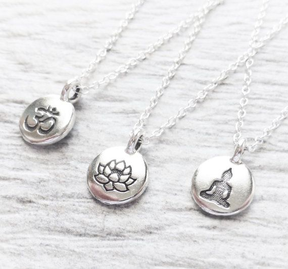 Tiny Silver Charm Necklace Stamped Tiny Charm Circle by JBMDesigns