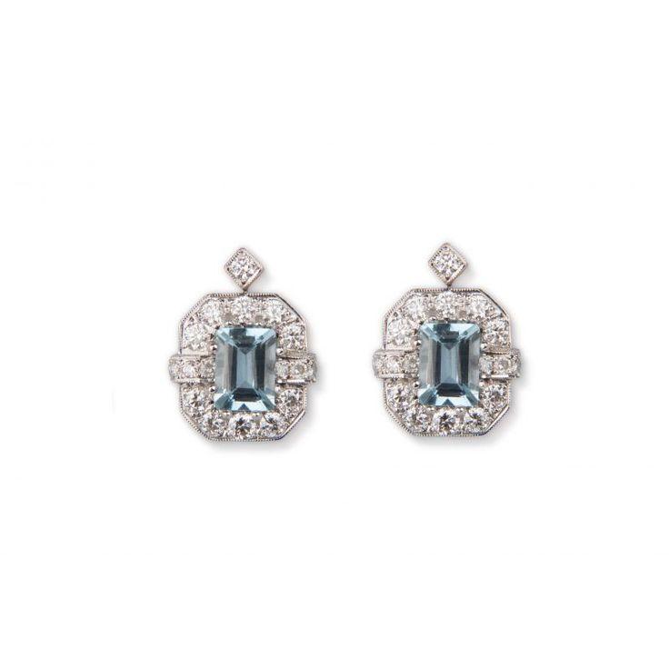 49215 18ct White Gold Aquamarine And Diamond Earrings