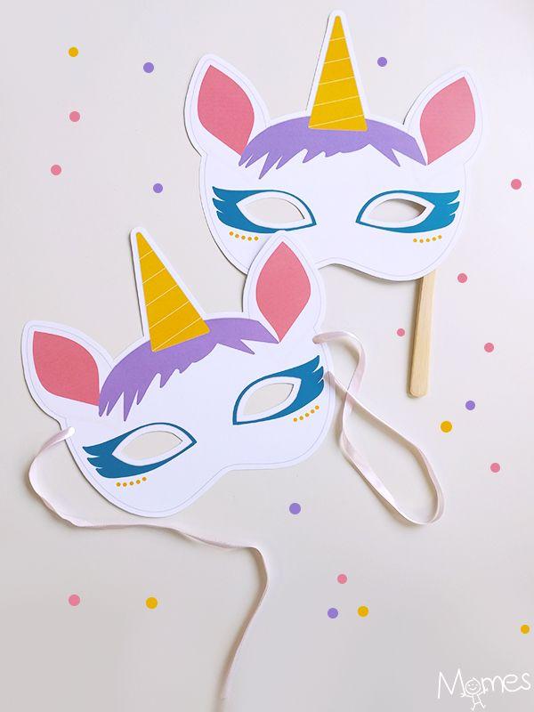 Voilà un superbe masque de licorne à imprimer ! La licorne c'est un peu la tendance magique du moment, elle est idéale pour un déguisement et au moins ça change des princesses ou des fées ! Alors transformez vous ou votre enfant en licorne le temps du Carnaval ou d'une soirée !