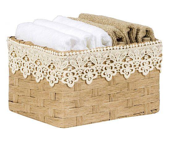 Set di 6 lavette in cotone con cestino in vimini Alexis beige - 30x30 cm