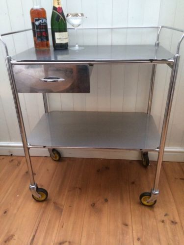 Vintage Stainless Steel Trolley Hospital Dentists Table Heavy Gauge Stainless
