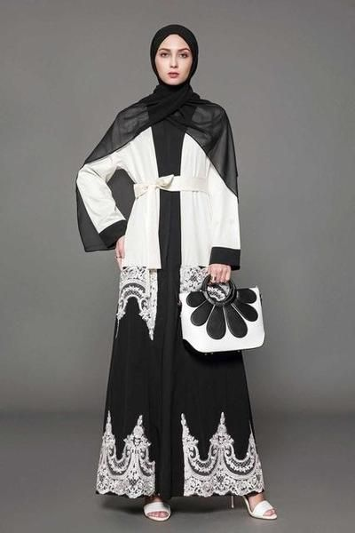 af12998b8cee4 Elegant Black and White Abaya With Lace  kaftan  abaya