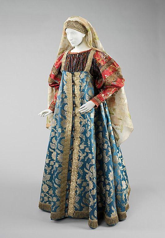 Russian ensemble, 19th century, silk, metal, cotton