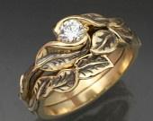 love unique wedding rings: Delicate Leaf, 14K Yellow, Wedding Ring, Matching Wedding, Wedding Bands, White Gold, Leaf Engagement Ring, Engagement Rings