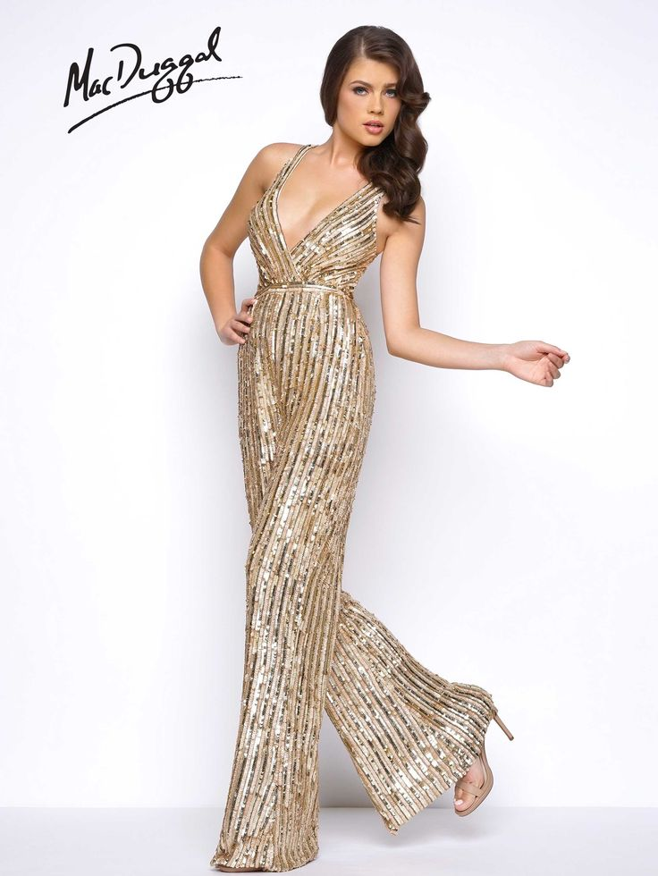 Wow your friends at prom in this gold, sleeveless, deep V-neck, fully sequined, flared jumpsuit.