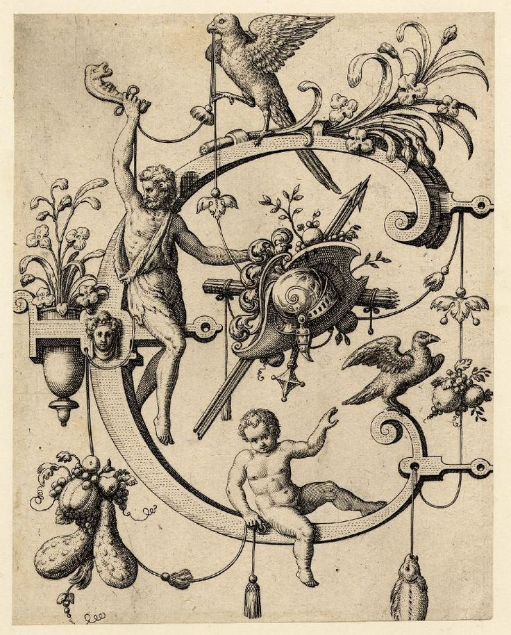 Nova Alphati effictio; Johann Theodor de Bry (Print made by); C; letter of the alphabet with Cain holding a jawbone above his head and with a trophy
