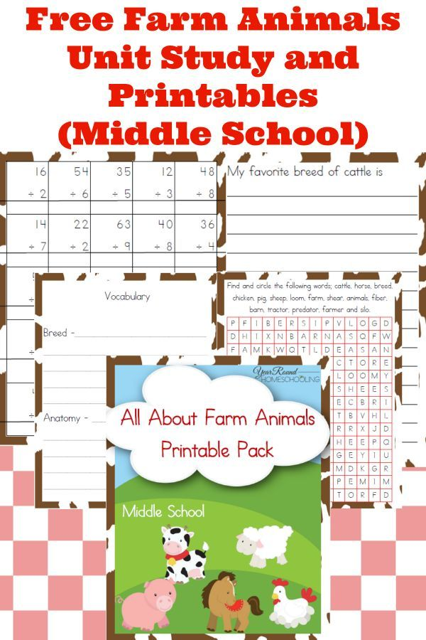 Free Farm Animals Unit Study and Printables (Middle School) - http://www.yearroundhomeschooling.com/free-farm-animals-unit-study-and-printables-middle-school/