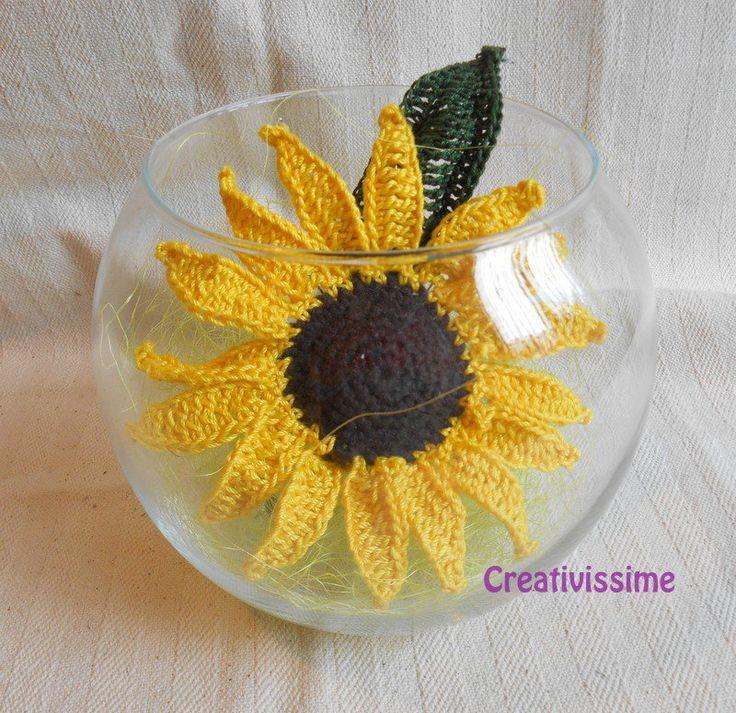 Girasole in Boccia di vetro all'uncinetto fatto a mano , by CREATIVISSIME, 15,00 € su misshobby.com