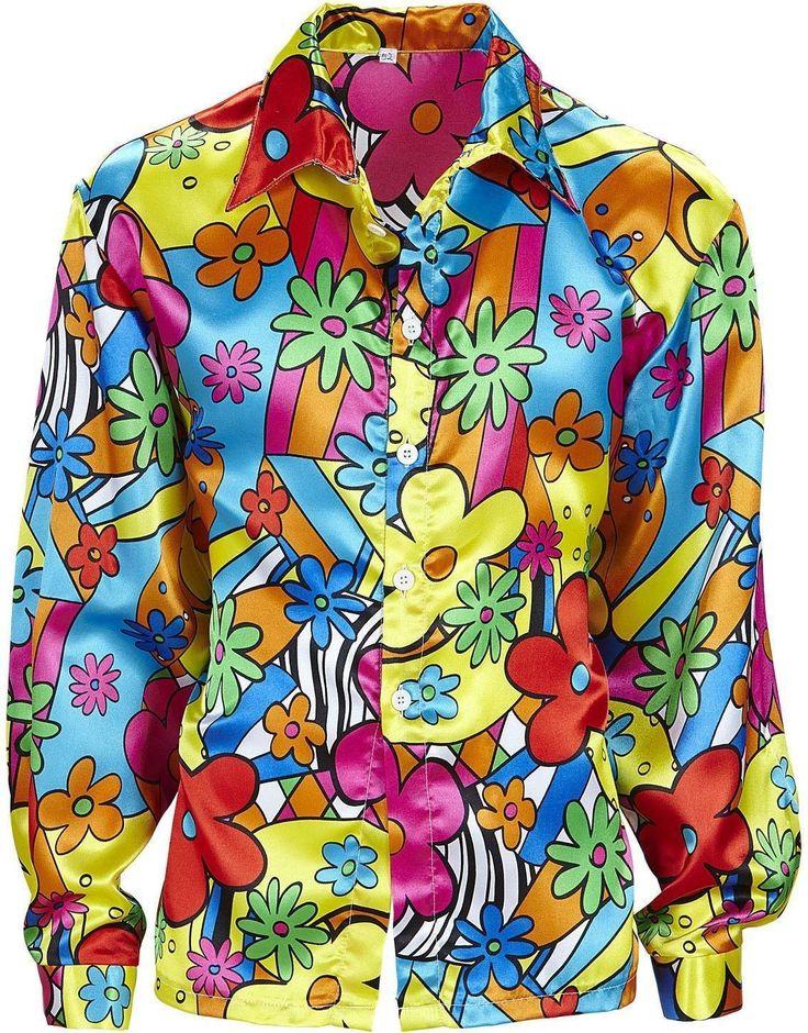 Flower Power Shirt Costume Large for 60s 70s Hippy Fancy Dress: Amazon.co.uk: Toys & Games