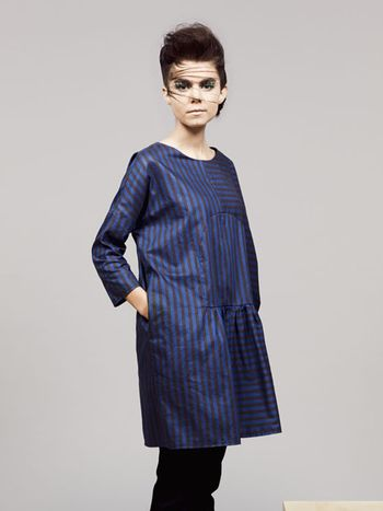 Blauw wit gestreepte jurk dames