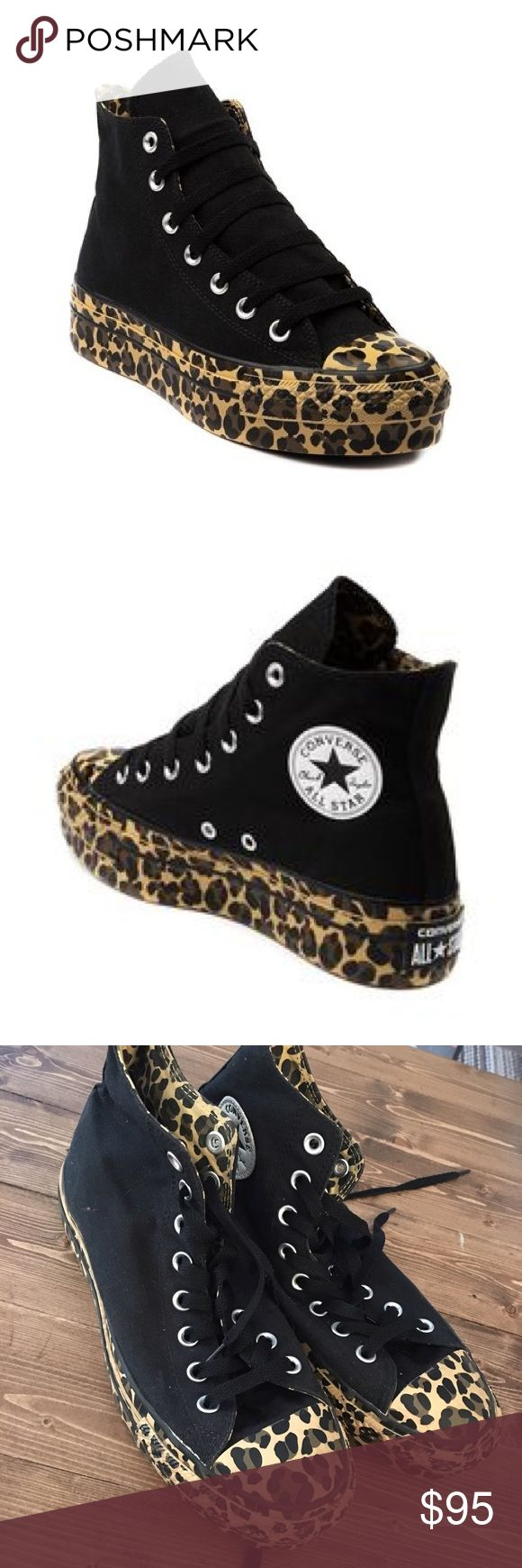 Converse All Star Chuck Taylor High Top Platforms Black high top sneakers with leopard platform soles. Inner lining is leopard as well. Slight wear on the leopard sole and the front of shoe (in pictures) but you can't really tell unless your looking for it. Men's size 7. Women's size 9. Euro size 40 Converse Shoes Sneakers