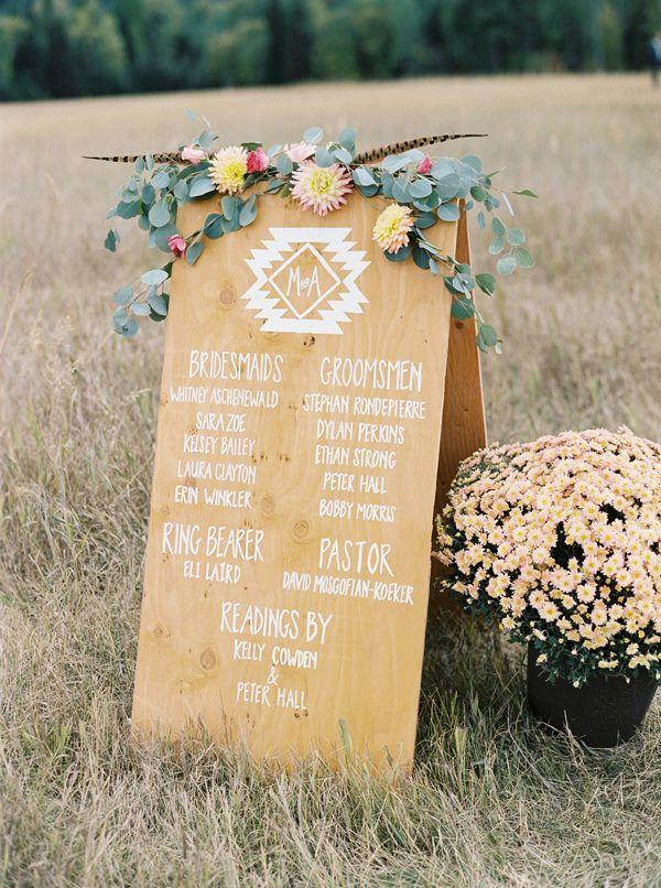 wooden wedding program - photo by Jeremiah and Rachel Photography http://ruffledblog.com/bohemian-montana-wedding