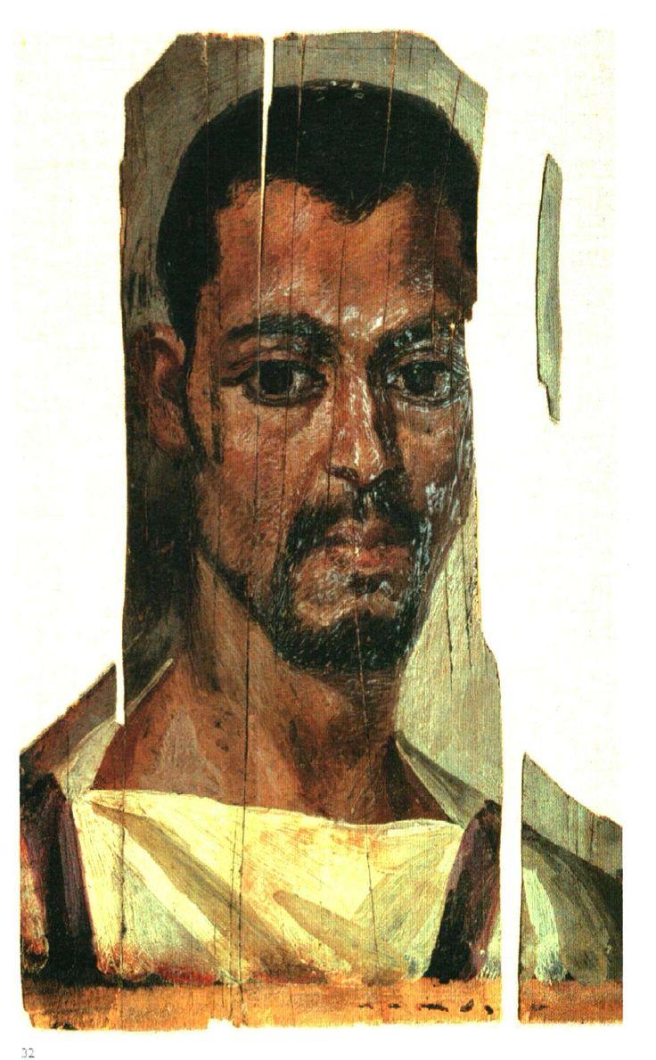 Fayoum portret van een jonge man. Werd vervaardigd met encaustiek, wat inhoudt dat ze zijn gemaakt van hele hete, gepigmenteerde bijenwas, hars en nog een paar stoffen, in verschillende kleuren op een houten paneel.. De techniek is vermoedelijk rond 1000 v.Chr. Door de droge hitte in de woestijnstad Fayoum zijn de portretten tot op de dag van vandaag bewaard gebleven.
