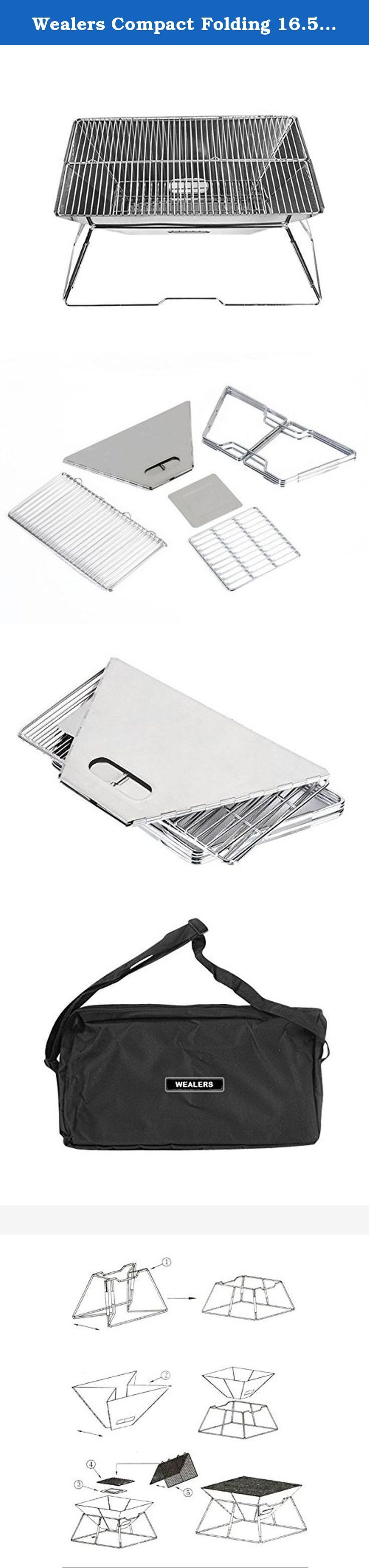 Wealers Compact Folding 16.5 X 12.5 Inch Charcoal BBQ Grill Made From Stainless Steel. Portable and Great for Camping, Picnics, Backpacking, Backyards, Survival, Emergency Preparation. The WEALERSTM folding grill set is a great way to take grilling with you wherever you go. Whether it's on a camp out, at the RV park or in the backyard, your Quick Grill is a fun and easy way to enjoy a meal with friends and family. The highly compact design allows the Grill to be easily set up and easily...