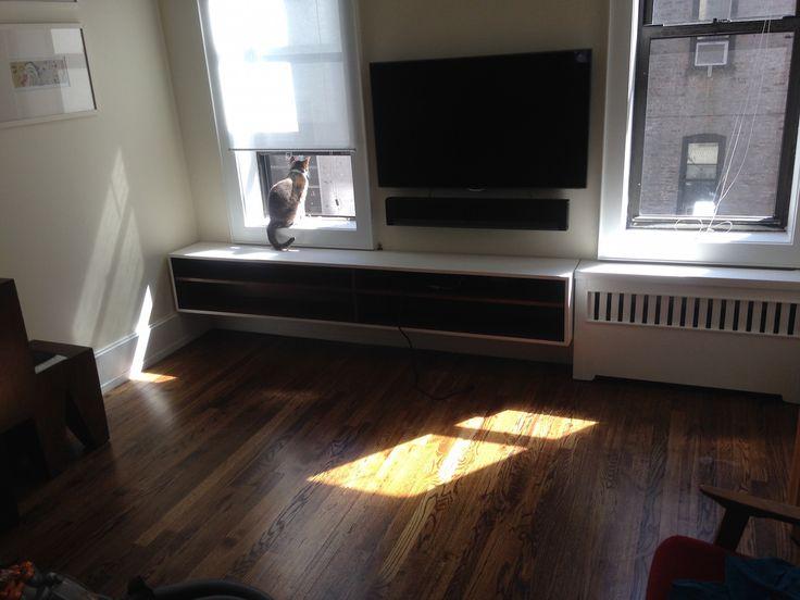 Floating media shelf plus custom radiator cover (cat not included)