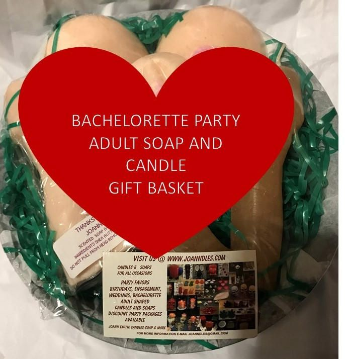 Bachelorette party adult soap & candle gift basket by CandlesSoapAndMore on Etsy