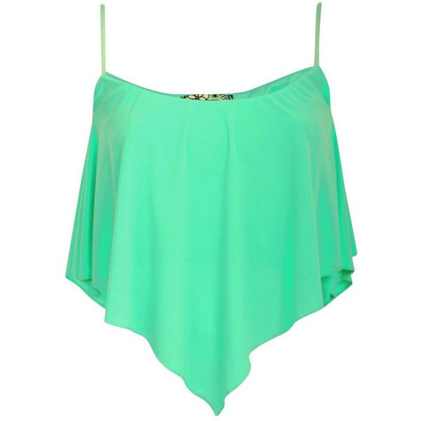 Pilot Molly Hanky Hem Camisole Top ($16) ❤ liked on Polyvore featuring tops, shirts, mint green, mint green cami, green cami top, cami shirt, green cami y mint shirt