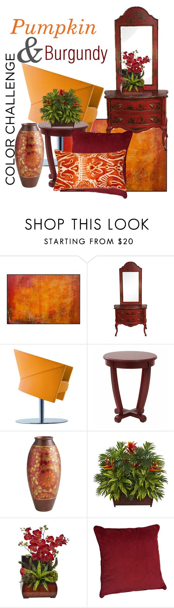 """""""Asian flair"""" by daincyng ❤ liked on Polyvore featuring interior, interiors, interior design, home, home decor, interior decorating, Pier 1 Imports, Nearly Natural, Pillow Decor and colorchallenge"""
