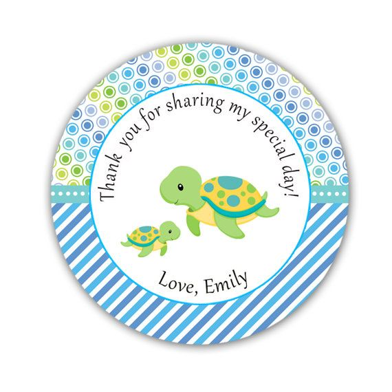Turtle Baby Shower Thank You Tags  Blue Polka Dots by pinkthecat, $8.00