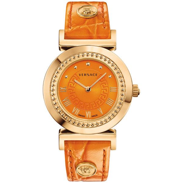 Versace Versace: Vanity Women's Orange Watch (391193201) ($717) ❤ liked on Polyvore featuring jewelry, watches, orange, logo watches, swiss quartz watches, water resistant watches, bezel watches and buckle watches