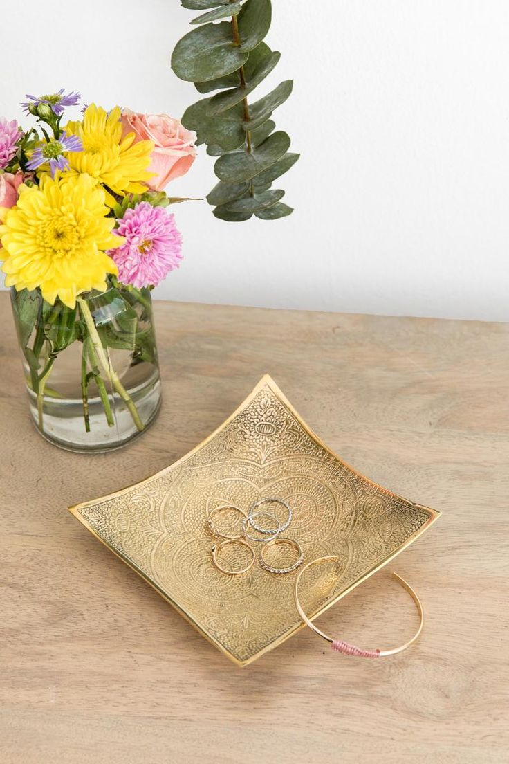 Gold Square Jewelry Dish-  gift-cllifestyle