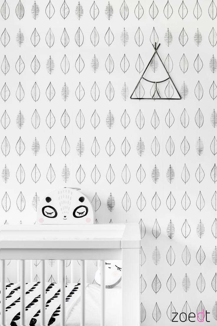 Mooi behang voor de kinderkamer of babykamer! #monochrome #behang #kinderkamer