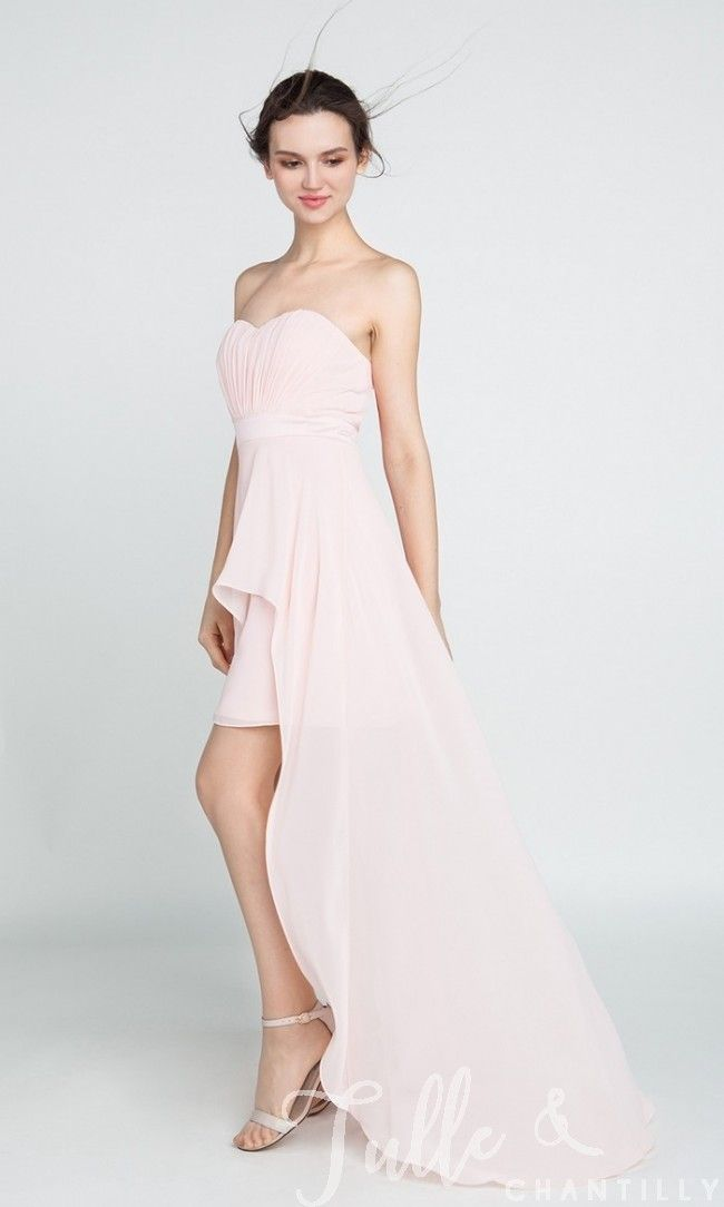 Long High Low Strapless Chiffon Bridesmaid Dress TBQP395 click for 40+ colors