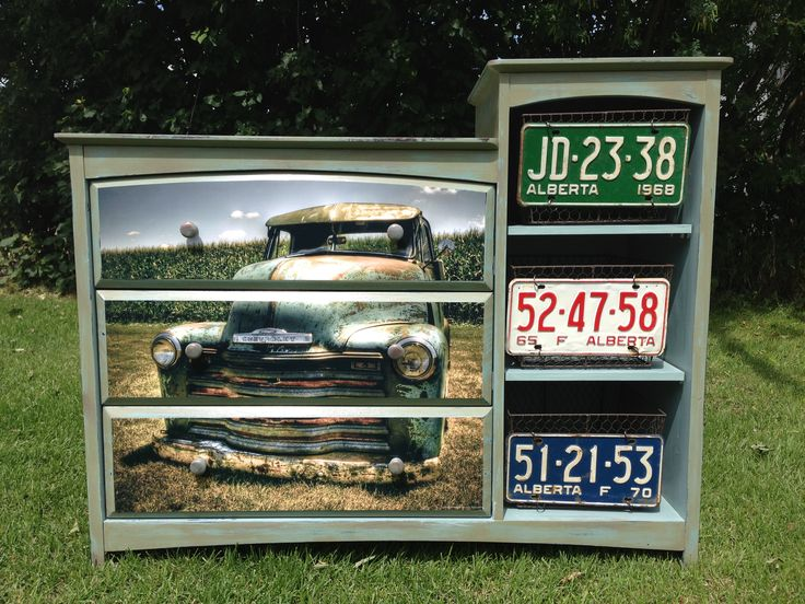 Chevy dresser with license plate baskets. Search Delightful and Distressed on Facebook.