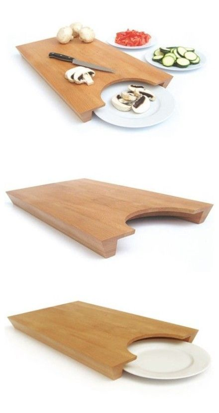 This cleverly designed chopping board helps you move chopped food to a plate quickly and effortlessly.