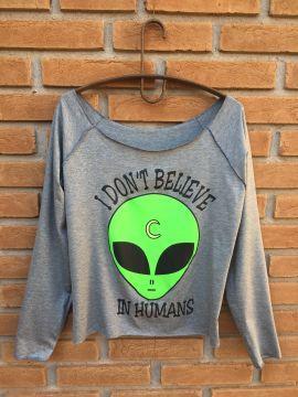 Loja Hippie Artesanatos | Blusa Manga Longa Alien I Want Believe - Cinza