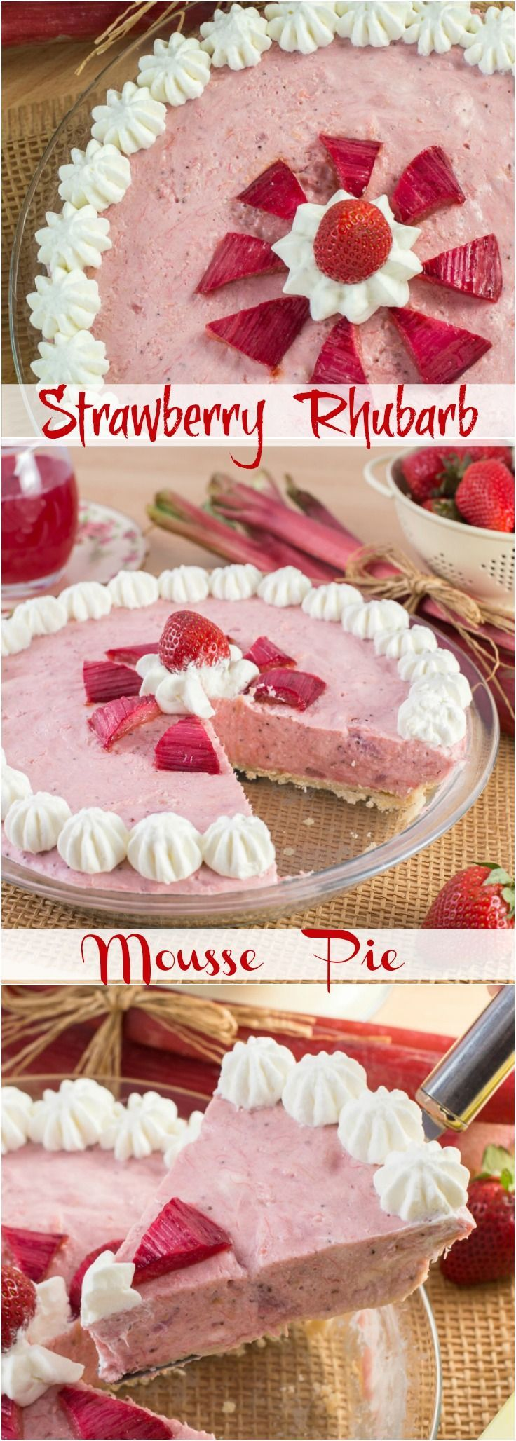 Strawberry Rhubarb Mousse Pie combines the sensational flavours of tart Rhubarb and sweet strawberries into a light and creamy mousse pie.