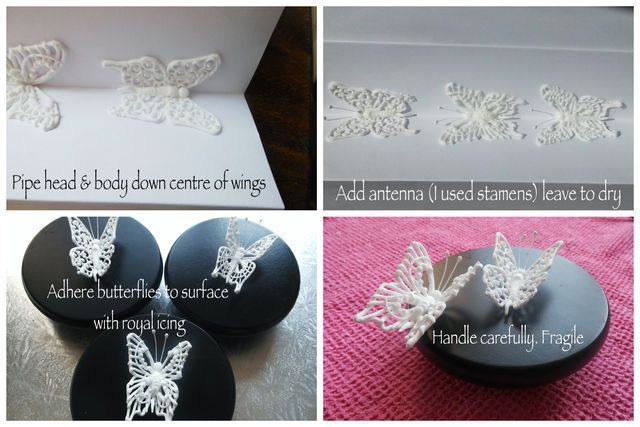 Filigree Butterflies - royal icing - by Callicious Cakes @ CakesDecor.com - cake decorating website