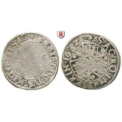 Friedland und Sagan, Herzogtum, Albrecht von Wallenstein, Groschen (3 Kreuzer) 1632, f.ss: Albrecht von Wallenstein 1623-1634.… #coins
