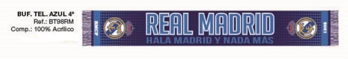 BUFANDA REAL MADRID MARINO Este artículo lo encontrará en nuestra tienda on line de complementos www.worldmagic.es info@worldmagic.es 951381126 Para lo que necesites a su disposición