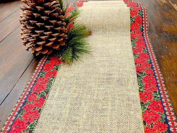 Christmas Table Runner burlap table runner with by HotCocoaDesign, $27.00