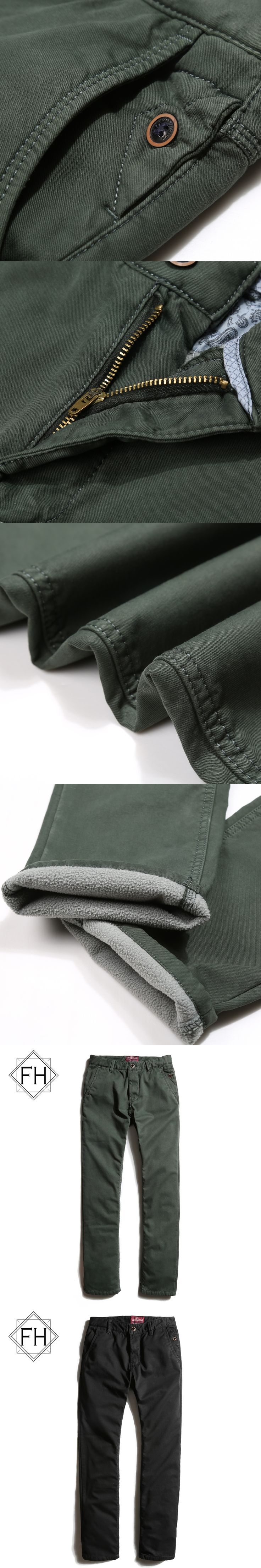 FuHao 2017 New Arrival Men Casual Straight Fleeced Pants Winter Warm Inside Cargo Pant For Man Cotton Trousers Male, 3263E