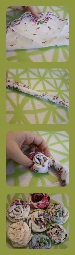 These rolled flowers would be so easy (and pretty) with any fabric!