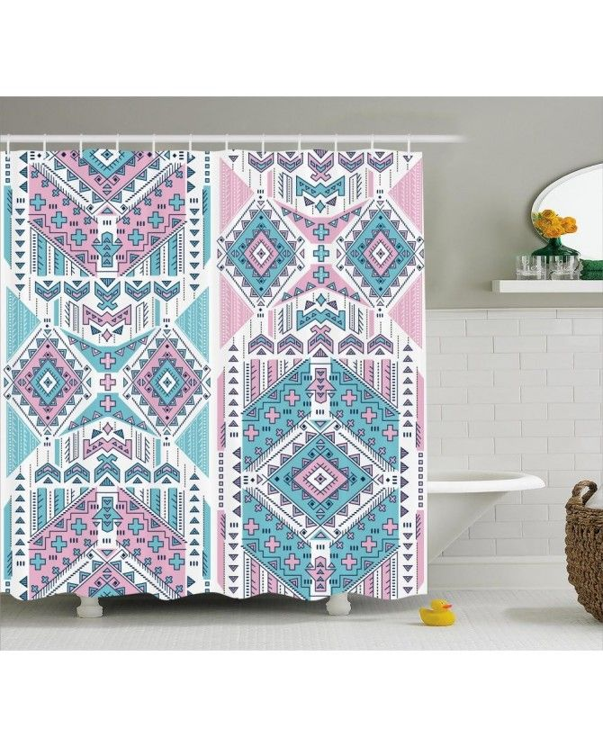 Pink Teal Aztec Shower Curtain Brown Bathroom Decor Amazing